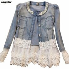 New Women Plus Size Beading Slim Jeans Jackets Long sleeve Lace Patchwork Short Denim Jacket Autumn Casual Jeans Coat Outwear white floral lace patchwork denim jeans