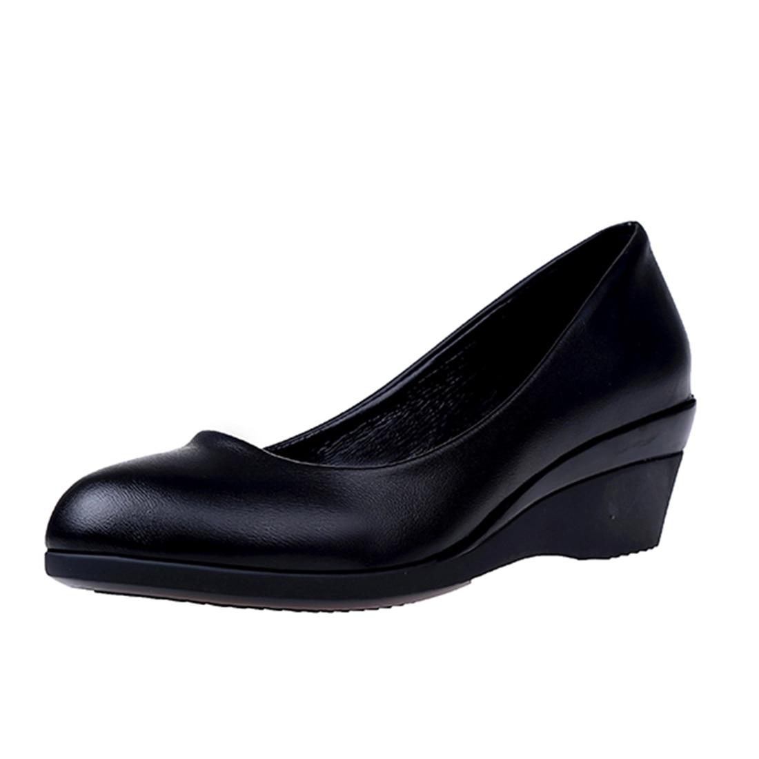 Dames Bureau Profonde Solide Couleur Femme Ol Travail Peu Femmes Casual talons bright Black Les Matte Chaussures Mid Black Wedge Formelle Classique Cour xOECwgwaXn