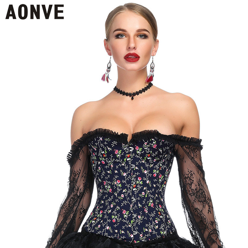 Aonve Off Shoulder Sexy   Bustier     Corset   White Wedding Sexy Korse Lace Steampunk Sweet Gorset Women   Corset   Top