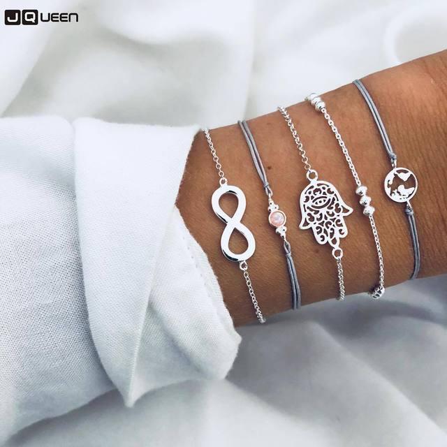 0ad16a86bed1 Vintage Bohemia plata Palma mapa encanto pulsera conjuntos para las mujeres  Cadena de cuerda simulado pulseras de perlas de joyería de perlas de regalos