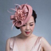 Feminino chique fascinator hat cocktail festa de casamento igreja headpiece kentucky headwear pena acessórios para o cabelo sinamay fascinators