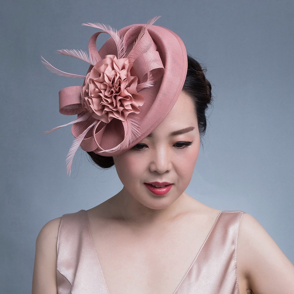 Women Chic Fascinator Hat Cocktail Wedding Party Church Headpiece kentucky   Headwear   Feather Hair Accessories Sinamay Fascinators