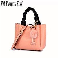 VM FASHION KISS Women Pink Shoulder Bag Genuine Leather Splice Fashion Flamingo Hairball Tote Bag Luxury Designer Bolsa Feminina