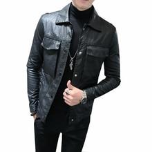 все цены на 2018 Winter PU faux Leather Clothing Male Self-cultivation Short Fund Loose Coat men jaket bomber Free shipping онлайн
