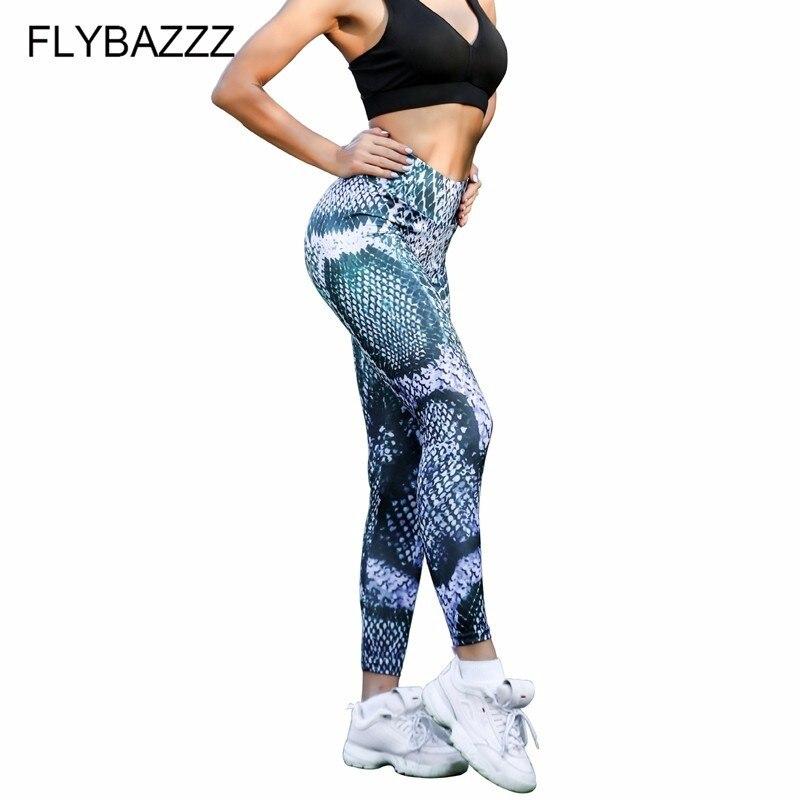 2019 New Sexy Yoga Pants Women High Waist Snake Print Sports Fitness Womens Gym Running Tights Leggings Mujer