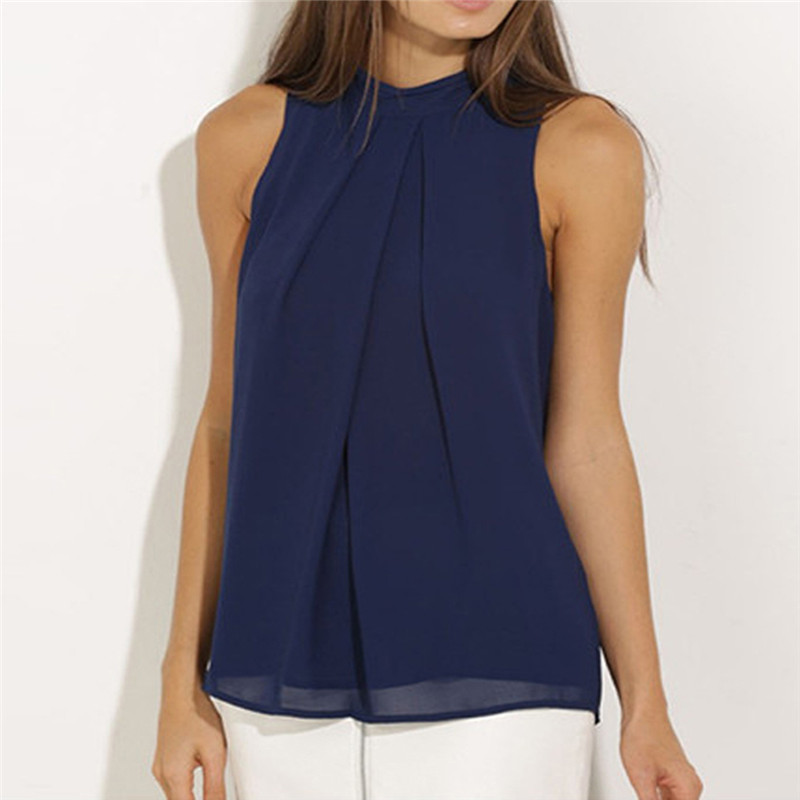 Women Casual Sleeveless Solid Color Chiffon   Blouse     shirt   Tops women Summer Loose tops