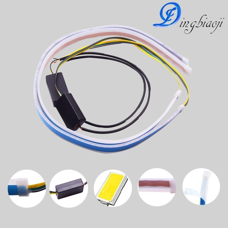 2x ultra-thin 45 <font><b>cm</b></font> waterproof DRL <font><b>30</b></font> 60 <font><b>cm</b></font> daytime running light flexible hose rail car <font><b>LED</b></font> light <font><b>bar</b></font> white turn signal yellow image