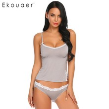 Купить с кэшбэком Ekouaer Women Summer Sexy Pajamas Set Soft Cotton Sleepwear Lace Spaghetti Strap Nightwear Trim Slim Fit Cami Top and Briefs