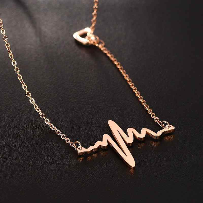 Vnox Temperament Heart Beat Trace Choker Necklace for Women Stainless Steel Cardiogram Pendant Elegant Lady Party Jewel