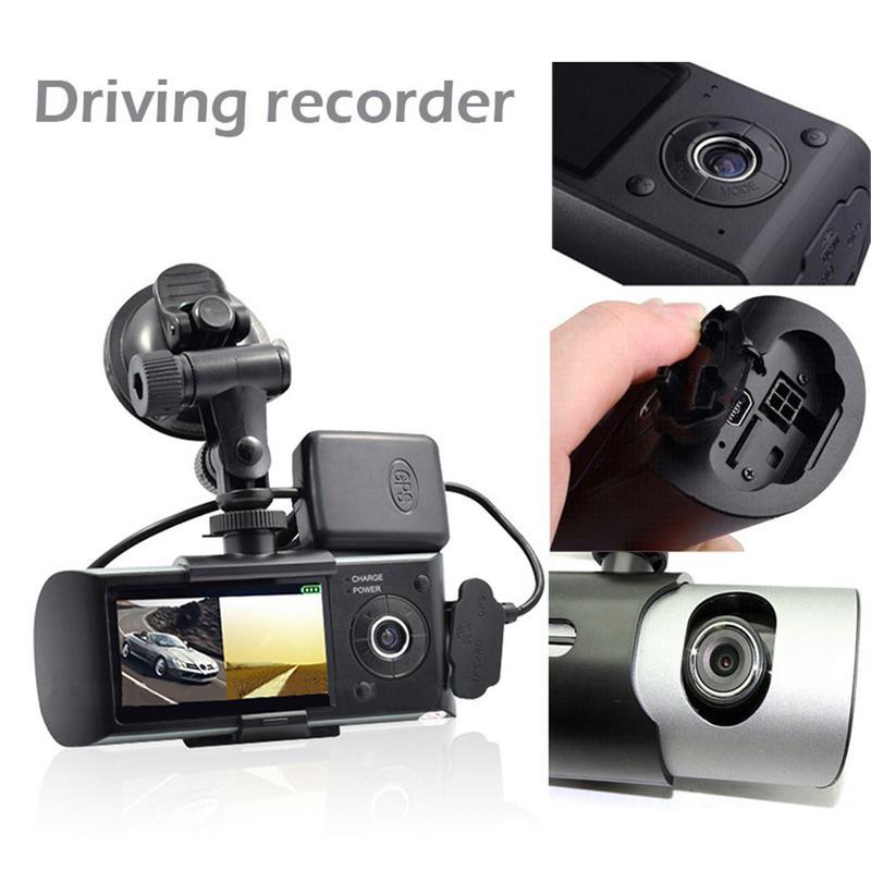 Professionnel nouveau Mini double lentille Dash Cam 2.7 pouces Full HD voiture DVR caméra enregistreur vidéo GPS enregistreur intégré Microphone haut-parleur