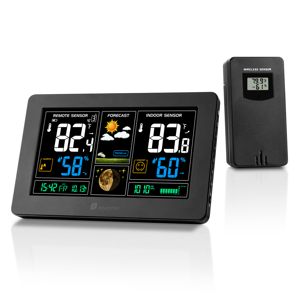 Houzetek Weather Station Barometer Thermometer Hygrometer Wireless Sensor LCD Display Weather Forecast Digital Alarm Clock