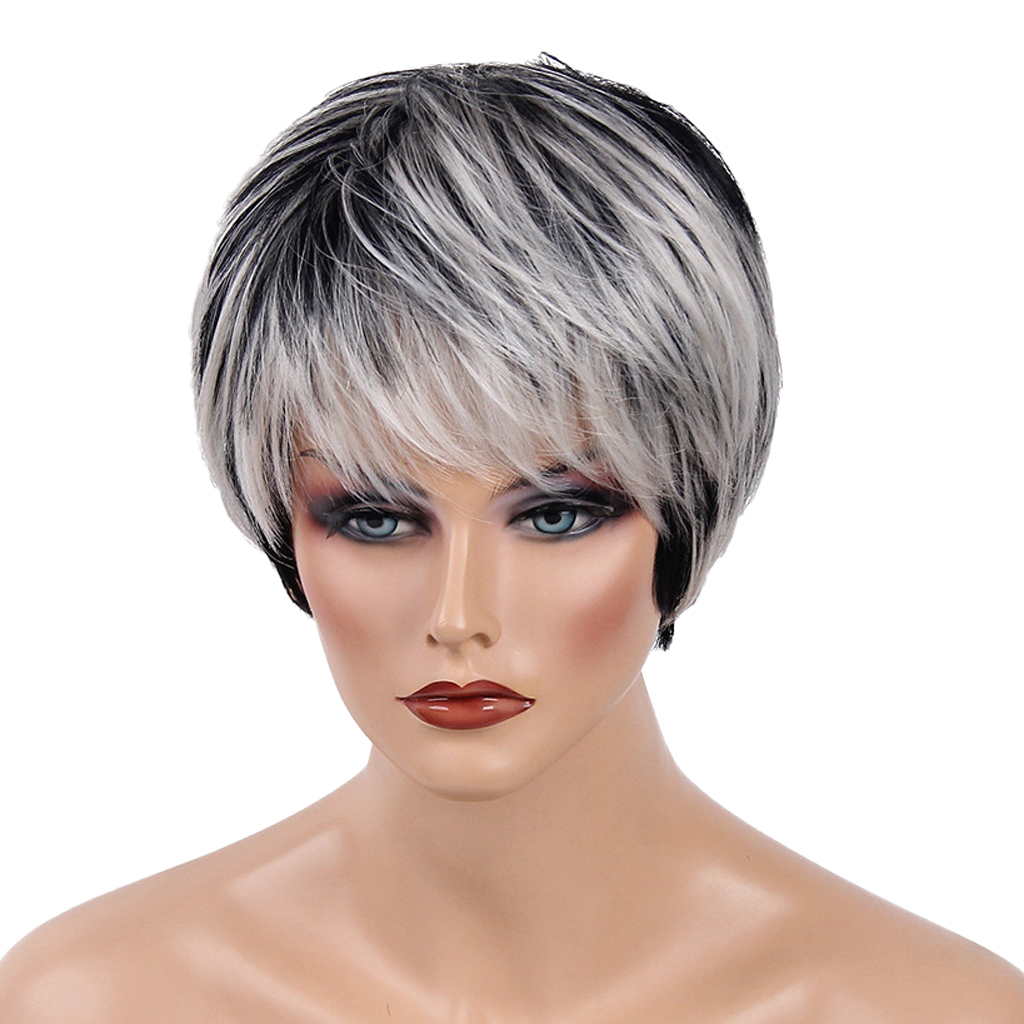 Women Human Hair Wig Short Black Blend White Layered Oblique Fringe Heat OK Heat Resistant Female Hair Natural Straight women human hair wig short black blend white layered oblique fringe heat ok heat resistant female hair natural straight