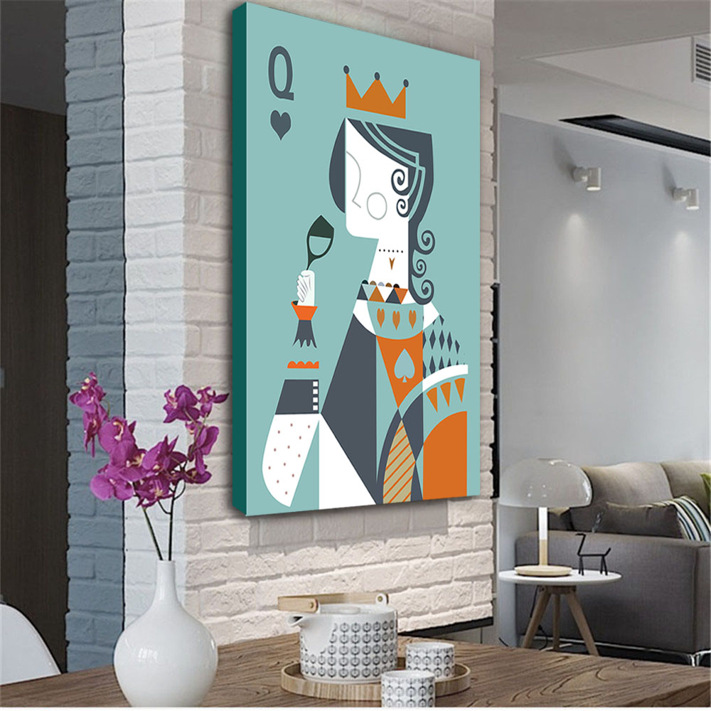 Abstract Poker Figure Paintings Wall Pictures Stretched Framed HD Canvas Print Decorative Painting for Living Room Home Decor