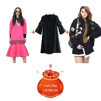 TWOTWINSTYLE 3 Pieces/lot Clearance Mermaid Hem Long Trench Coat Patchwork Knitted Dress Batwing Long Sleeve Jacket 2019 Fashion