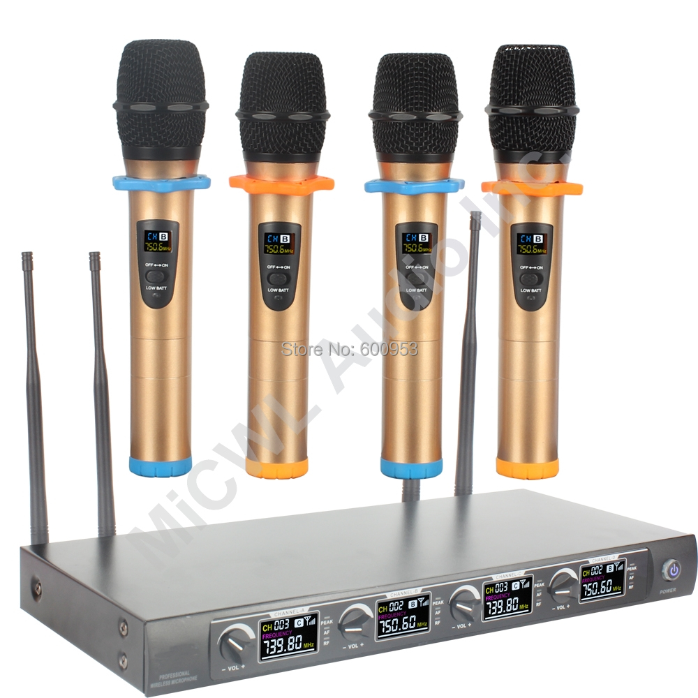 Pro 4 Channel Digital Stage Home Karaoke Performance Wireless Microphone Mics System 4 Handheld Radio micwl 2038v high end 8 lapel lavalier mics uhf led digital radio cordless wireless karaoke microphones system