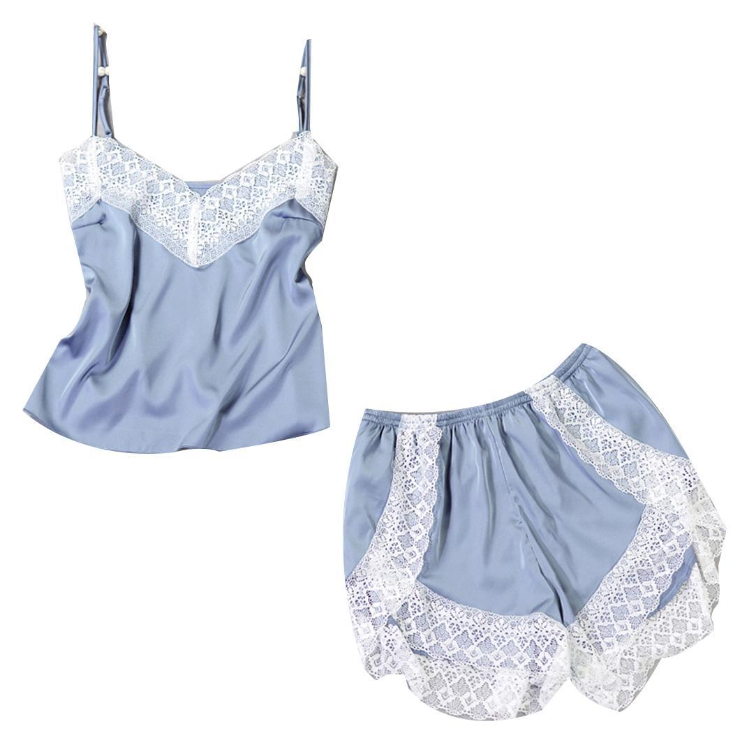 Women V Neck Adjustable Spaghetti Strap Summer Fashion Lace Patchwork Sleepwear   Pajama     Set   Floral