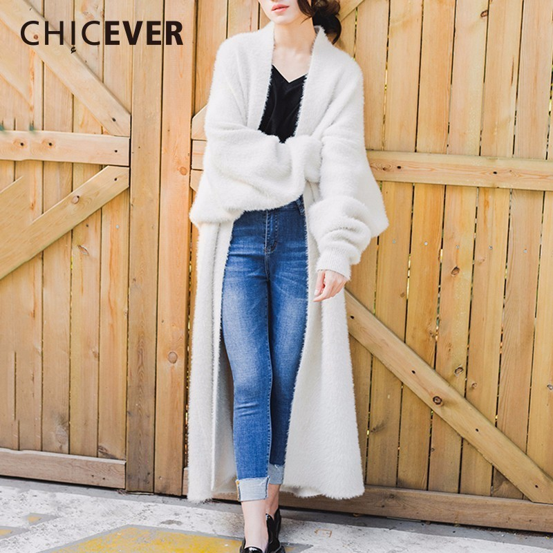 CHICEVER Winter Faux Sable Hair Cardigan Female Sweater For Women Batwing Sleeve Loose Big Size Thick