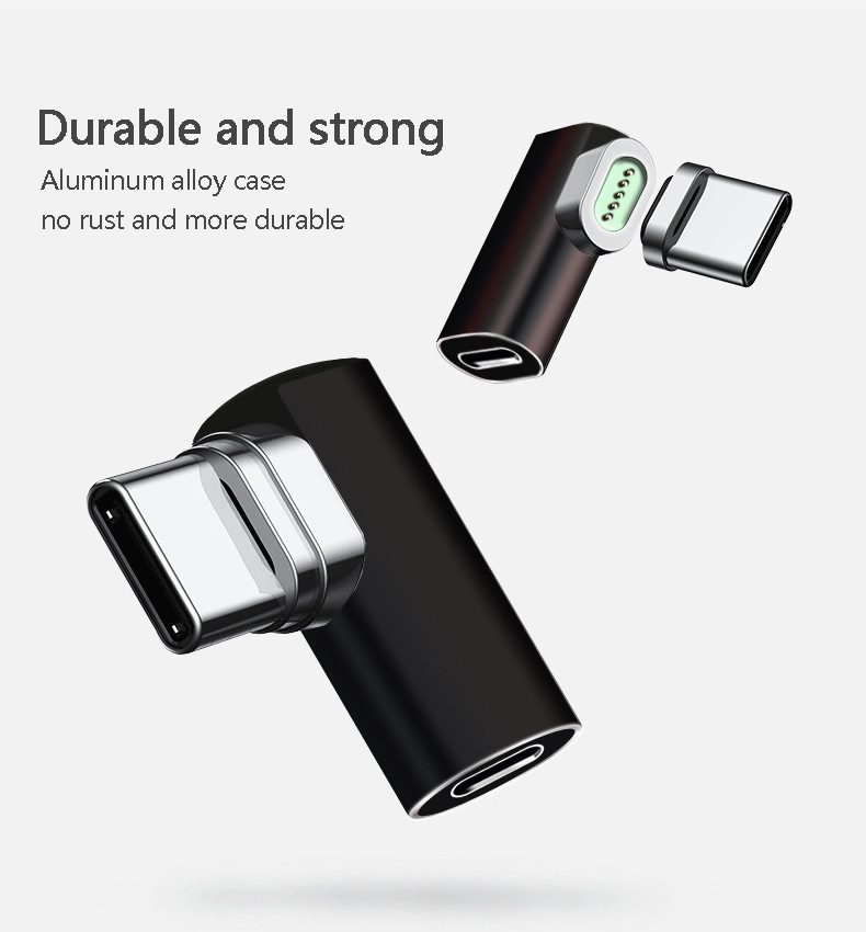 New Type C To Type-C Magnetic Elbow Adapter For Macbook Pro Air Nexus 5X 6P OnePlus 6 Fast Charging Magnet USB-C Cable Adapter