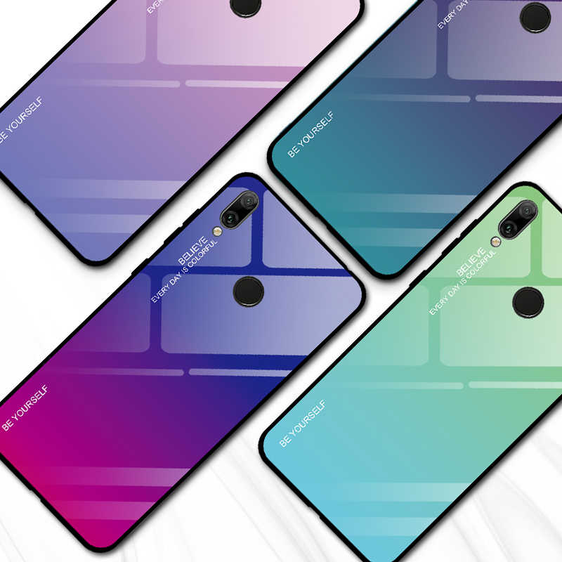 Gradient Glass Phone Case for Huawei Honor 10i 20i 8A 8X 9lite P20 P30 lite Y7 Y6 Prime Pro Y9 P Smart Plus 2019 Cool Glass Case