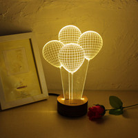 3D Visual LED Small Table Night Light Home Table Party Bar Decor Lamp For Holiday Valentine's Day With Lamp Holder
