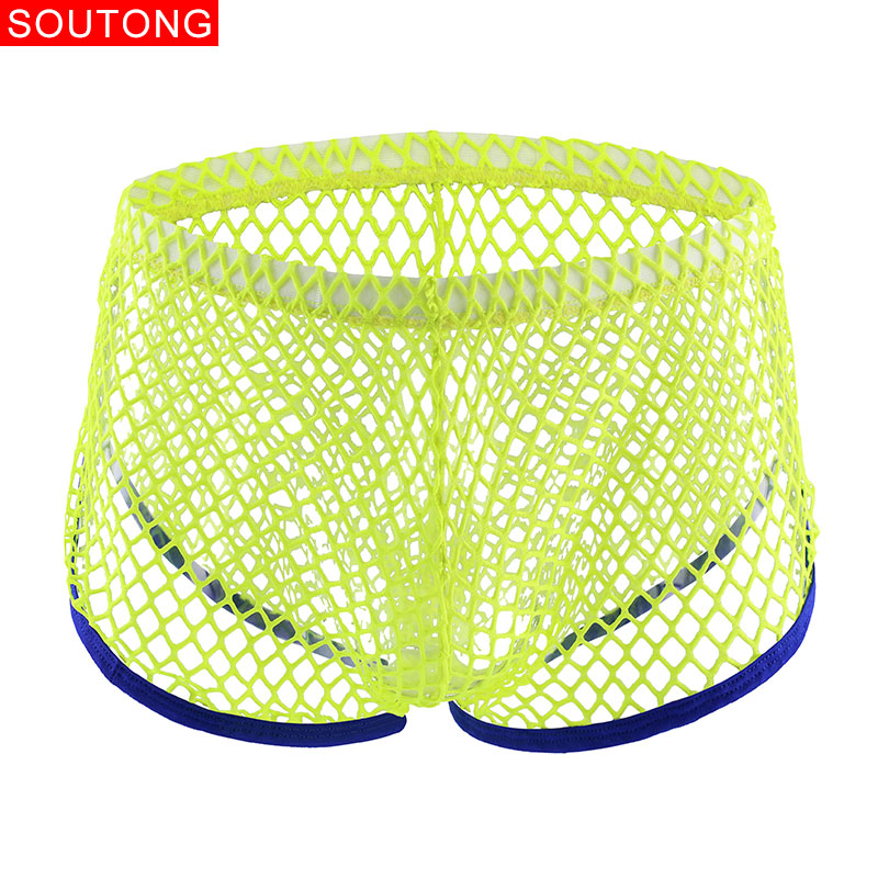 Soutong Sexy Men Underwear Mesh Transparent Boxer Gay Breathable Boxers Shorts Comfy Underwear Ropa Interior Hombre ST63