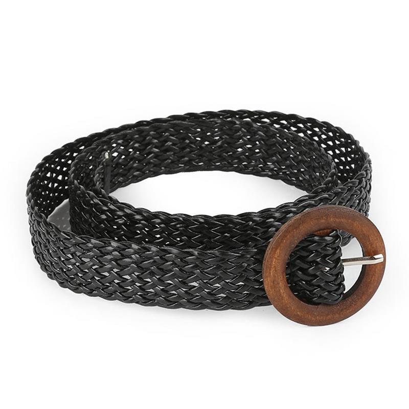 Hollow Woven Women   Belt   Decoration Ethnic Style Round Buckle Wild Dress Accessories Waistband