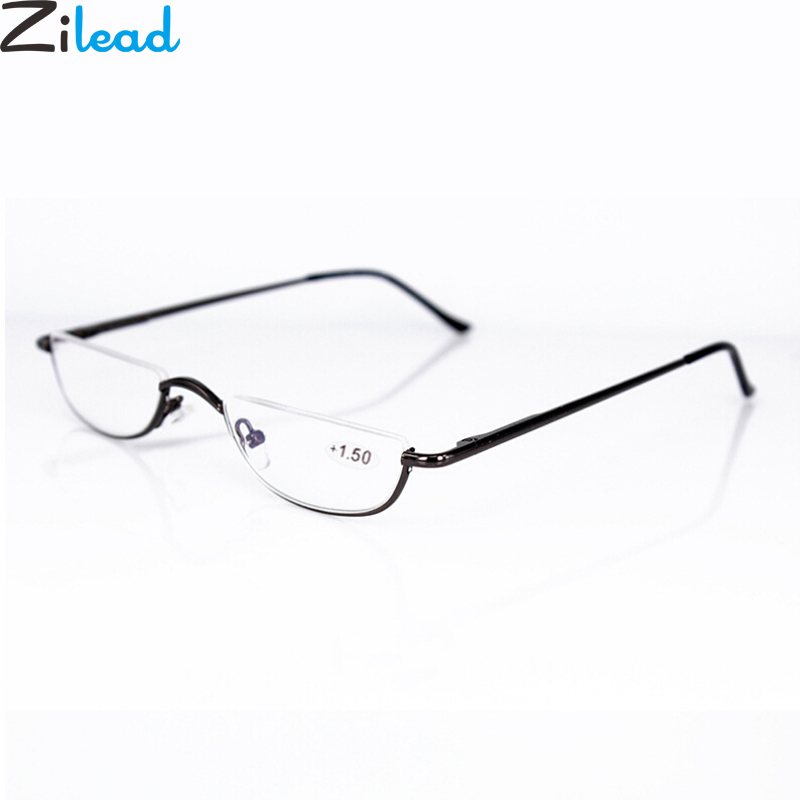 Zilead Ultra-light Metal Half Frame Reading Glasses Portable Men Business Presbyopia Glasses With Case Unisex Diopter +1.0to+4.0
