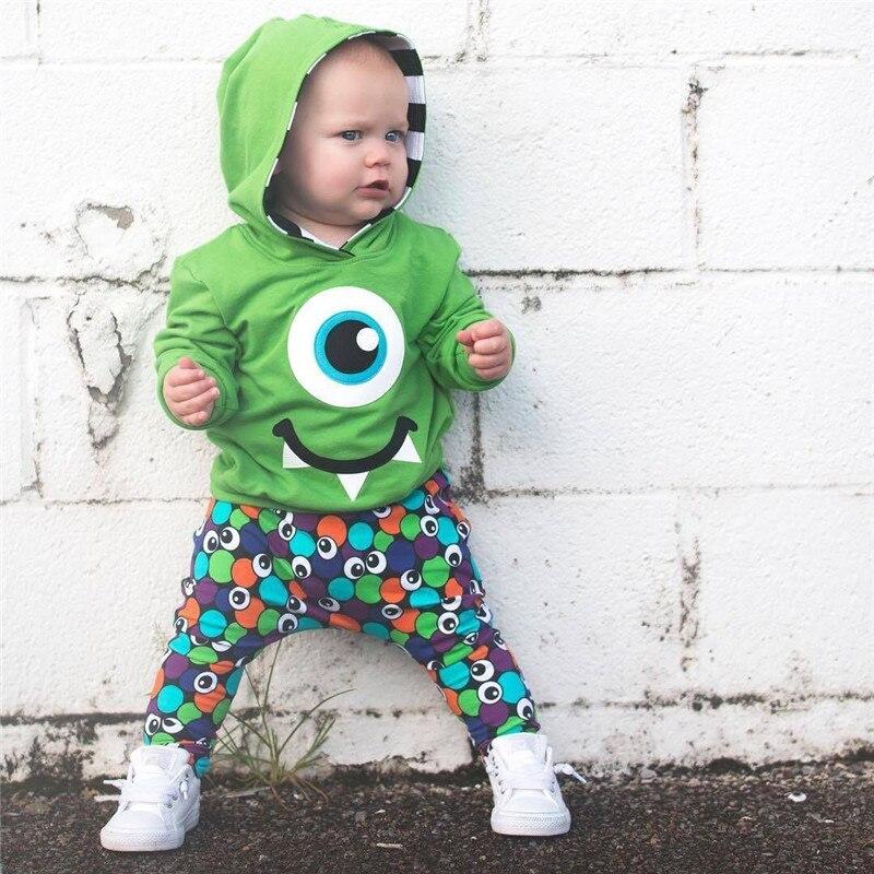 1-6 T Mode Infant Kinder Baby Mädchen Jungen Kleidung Set Lustige Cartoon Mit Kapuze Tops Pullover Hosen Nette Reizende Outfit Kinder Kleidung