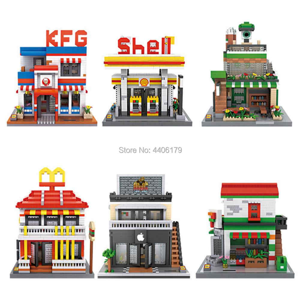 LegoINGlys city Street view shell Gas station Star Mcdonald apple shop Restaurant micro diamond building block bricks toys gift
