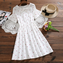 Mori Girl Sweet Summer Women Floral Dress Ruffled Bow Collar Print String Lace Female Vestidos Cotton Pink Green Cute