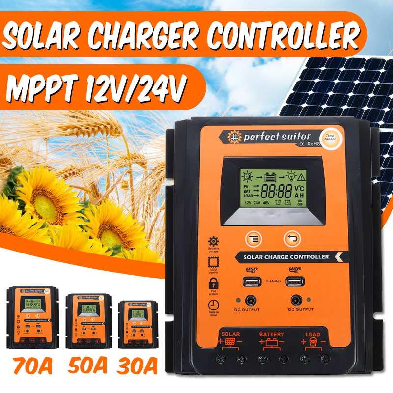 12 V/24 V 30A 50A 70A MPPT Inteligente Dual USB Display LCD Solar Controlador de Carga Da Bateria Do Painel Solar regulador