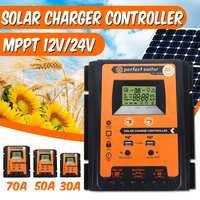 12V/24V 30A 50A 70A MPPT Intelligent Dual USB LCD Display Solar Charge Controller Solar Panel Battery Regulator