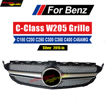 C-Class W205 Grills AEAMG-Style ABS Front Bumper C180 C200 C250 300 C350 Without Emblem Sports Style Silver Front Grille 2015-in