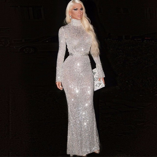 f4aaf524a13 Tobinoone Kim Kardashian Dress Sequin Party Christmas Dress 2018 Long Sleeve  Sexy Slip Empire Elegant Maxi Long Dresses Women