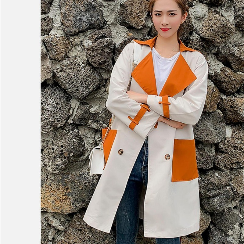 New Arrival Spring Autumn Long Sleeve Loose Coats Women Pockets Thin Outerwear Casual Patchwork Long Trench