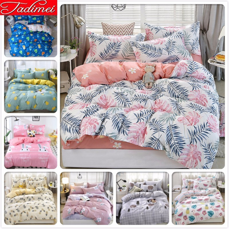 New Fashion Soft Cotton Duvet Cover Adult Kids Child Bed Linen Single Twin Full Queen King Size Bedspread AB Double Side 220x240
