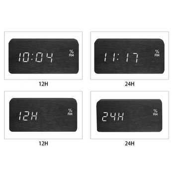 Modern Led Alarm Clock Temperature Humidity Electronic Desktop Digital Table Clocks,Black + white subtitles