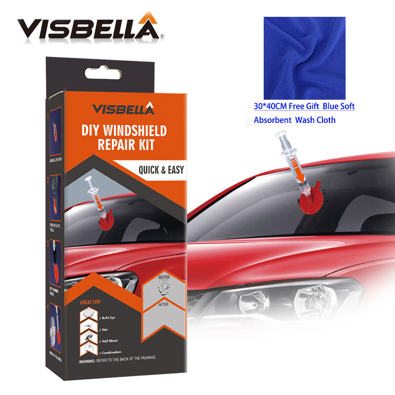 Visbella DIY kit de Reparo do Pára Brisas Conjuntos Mão Ferramenta de Reparo de Vidro para o Cuidado de Carro Arranhões Chips Rachaduras Restaurar com pano