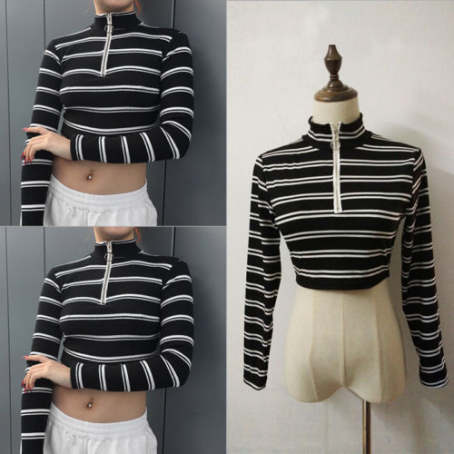 Hot Fashion Women Striped T Shirts Long Sleeve Soft Cotton Shirts Zipper Slim Waist Tops Crop Loose Short Tees 2019 New Arrival in T Shirts from Women 39 s Clothing
