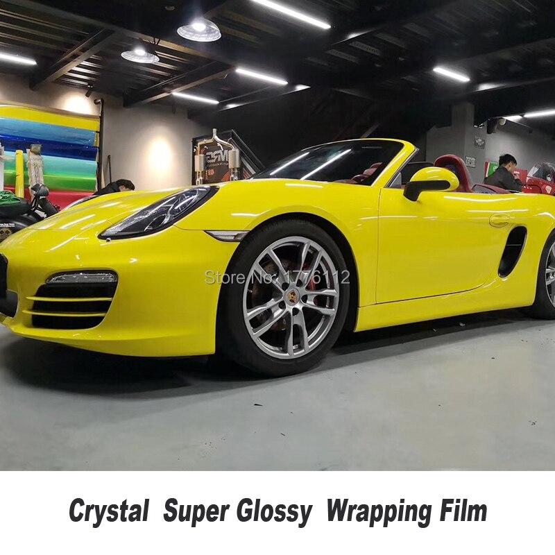 Alta qualidade Glossy Vinil Envoltório Etiqueta Do Carro Com Bolha Livre 1.52m * 20 m/roll Folha de Embrulho Veículo baixa aderência inicial