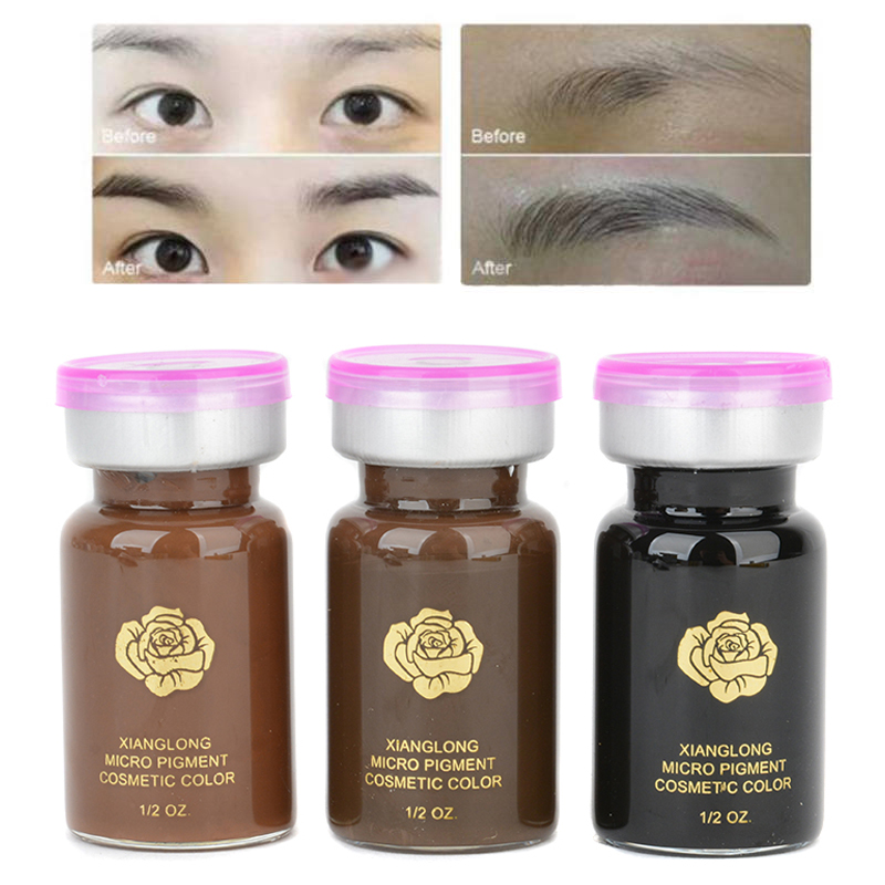Shellhard 1pc Permanent Eyebrow Tattoo Makeup Pigment 3D Micropigmentation Brows Ink Emulsions 3 Colors For Eyebrow Tattoo