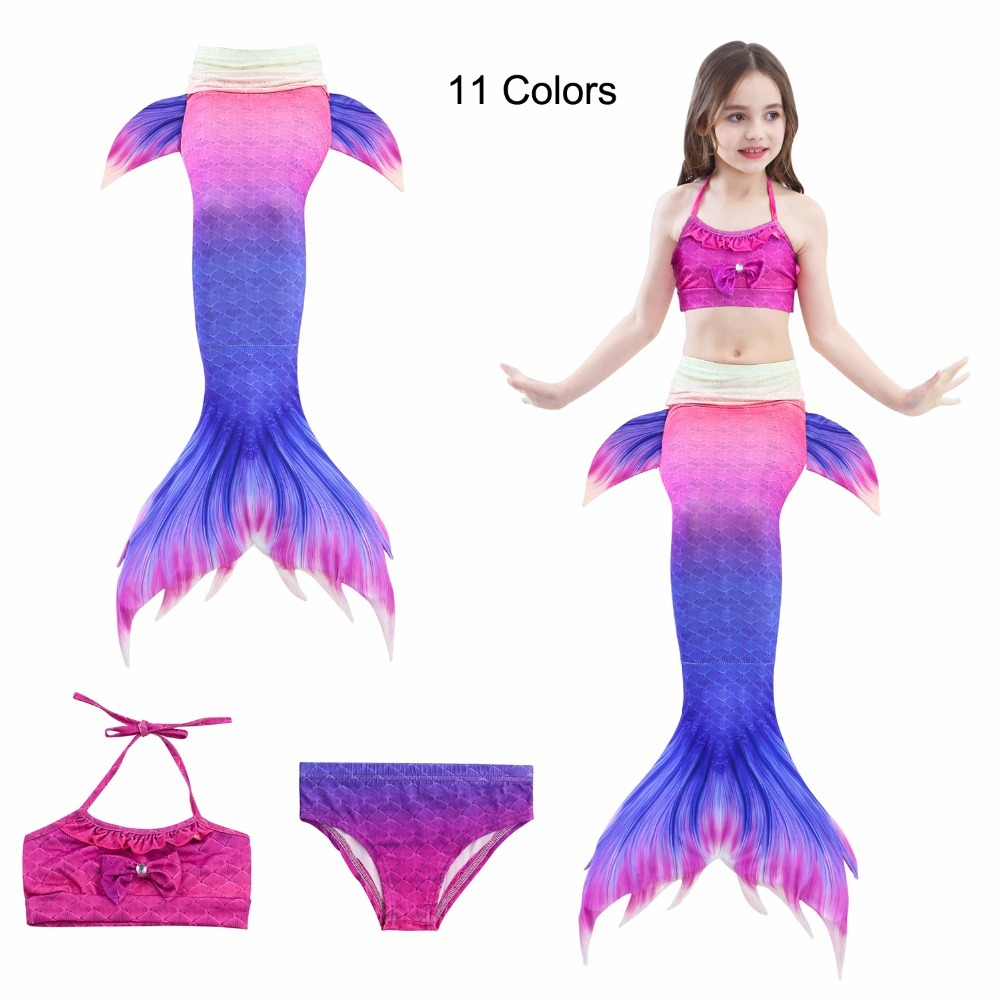11 Colors Swimming Mermaid Tails Costume Little Children Ariel Tail Cosplay Kids Girls Bathing Suit Swimwear Swimsuit