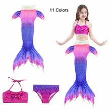 11 Colors Swimming Mermaid Tails Costume Little Children Ariel Mermaid Tail Cosplay Kids Girls Bathing Suit Swimwear Swimsuit 3 pcs girls rainbow mermaid tail swimwear bathing suit cosplay costume bikini swimsuit swimming suits swimmer clothes
