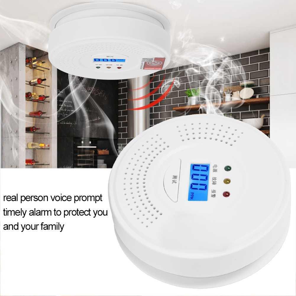 Детектор угарного газа с ЖК-дисплеем, голосовой датчик утечки дыма, Предупреждение распродажа