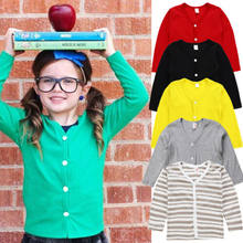 pudcoco 1-6Y Casual Kids Baby Boy Girl Knitted Sweater 2018 Cardigan Solid Coat Long Sleeve Tops Outwear Sweaters for baby girl(China)