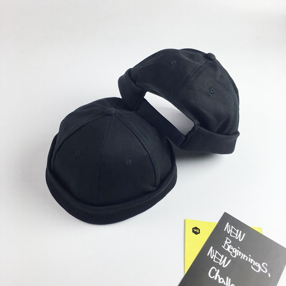 Men Adjustable Brimless Cotton Caps Vintage Crimped Cap Street Docker   Beanie   Hat Unisex Solid Multipurpose Hats Summer Casual
