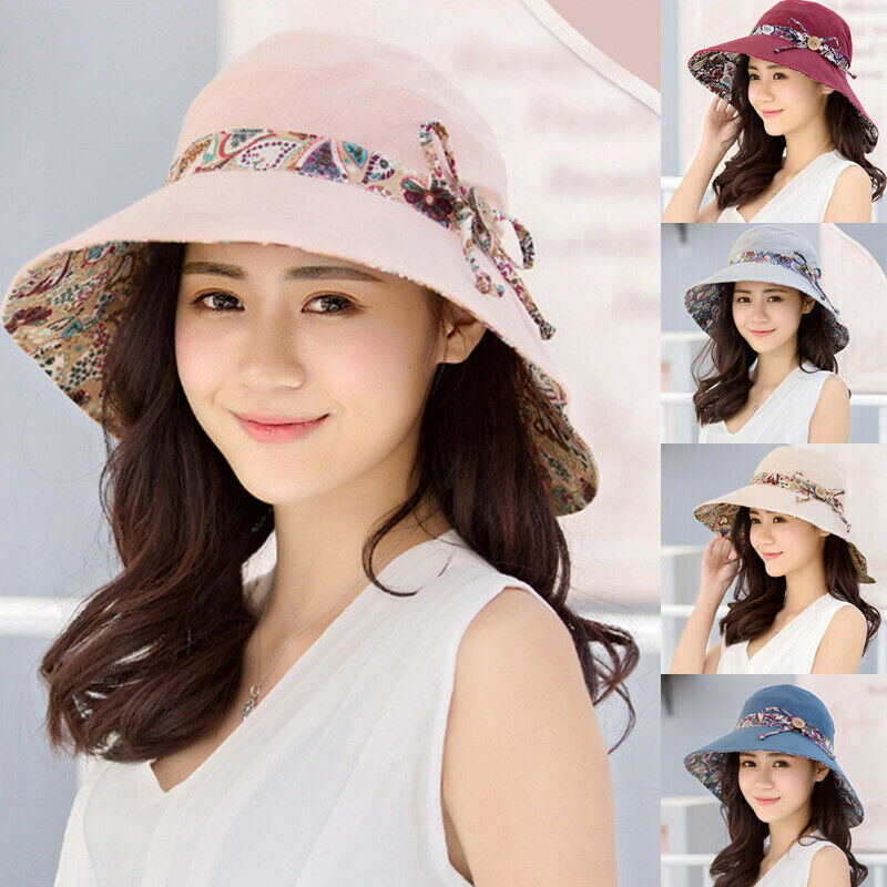 New Women Ladies Fashion Casual Elegant Summer Sun Hats Big Wide Brim Hat Beach Sun Folral Hat