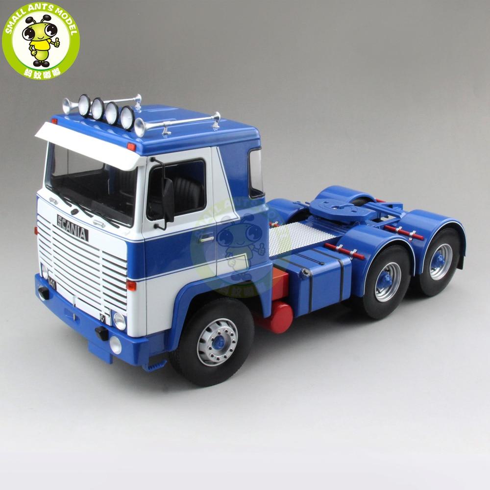 1/18 Scania Lbt 141 tracteur camion Asg 3-Assi 1976 ROAD-KINGS moulé sous pression voiture camion modèle jouets pour enfants cadeau bleu et blanc