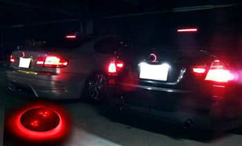 1Pc Red LED Light Car Decal Sticker Logo Badge Emblem Light Lamp 82mm For BMW 3 5 7 Series M8617 image