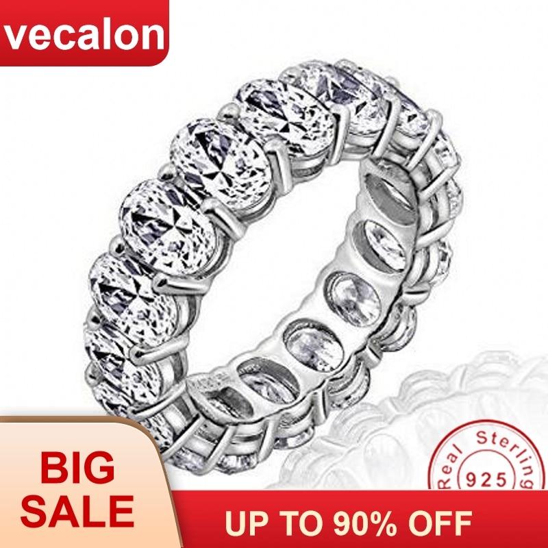 Vecalon 2018 Anillos De Compromiso promesa boda anillo 925 Plata de Ley corte ovalado 5A circón Cz anillos de compromiso para Mujeres Hombres dedo joyería